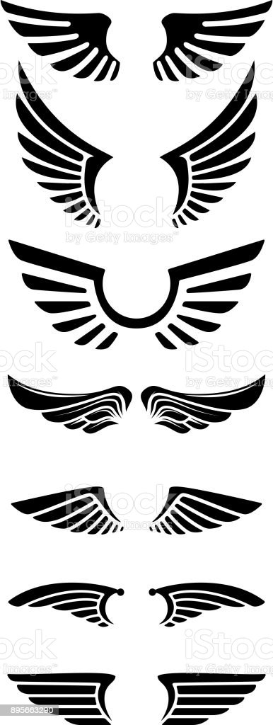 Set of wings icons. Design elements for label, emblem, sign.
