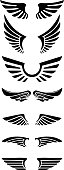 Set of wings icons. Design elements for label, emblem, sign.