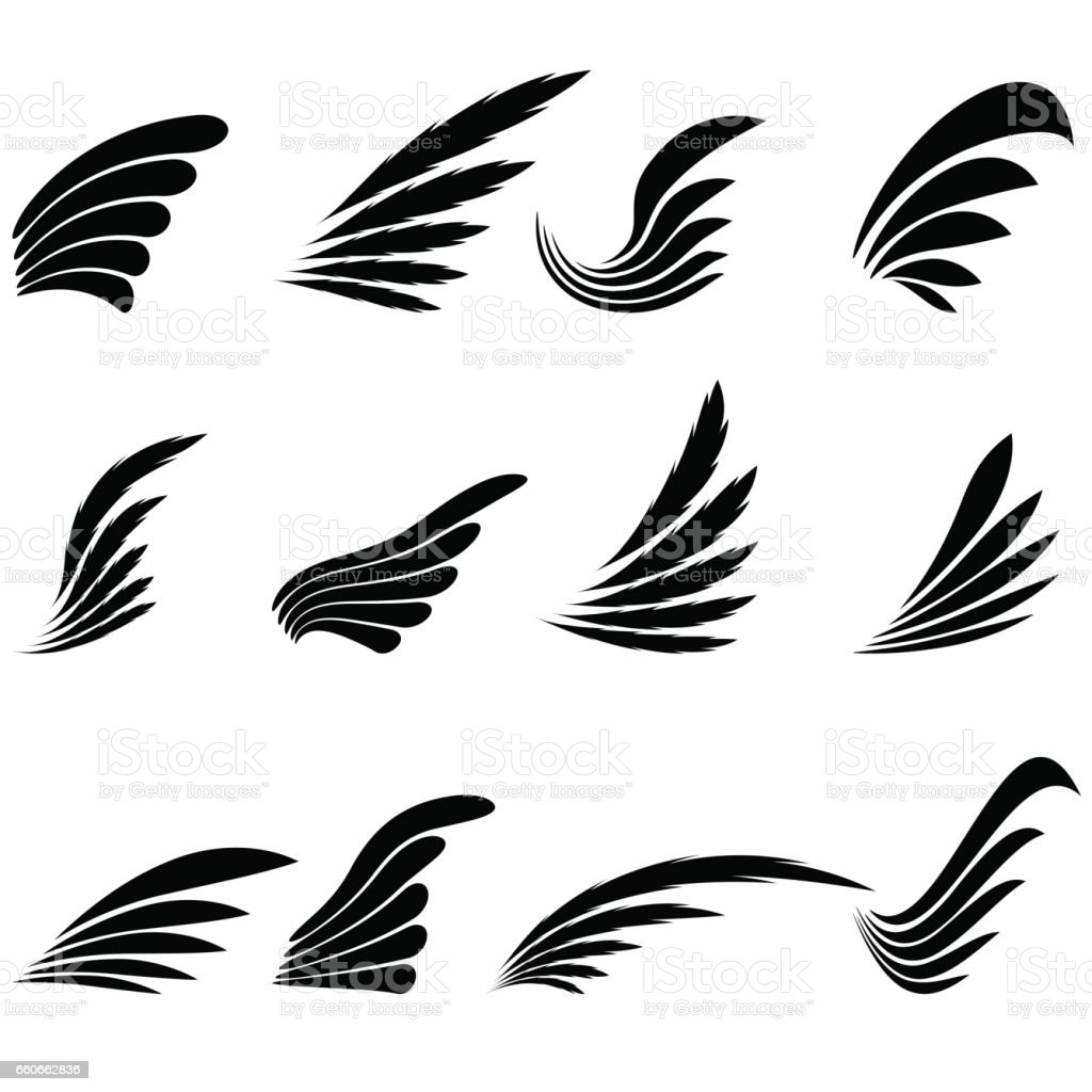 Set of Wings Icons Isolated on White Background vector art illustration
