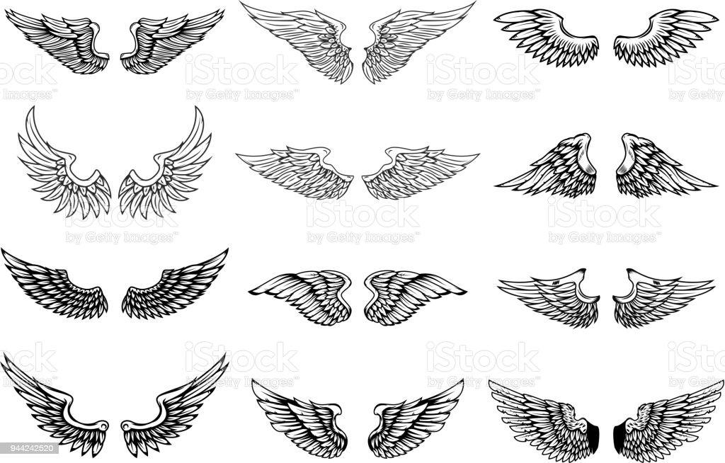 一連の翼、白い背景で隔離のイラストです。ラベル、紋章、記号のデザイン要素です。 ベクターアートイラスト