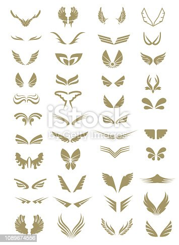 Collection of wings, logo symbol isolated on white, vector