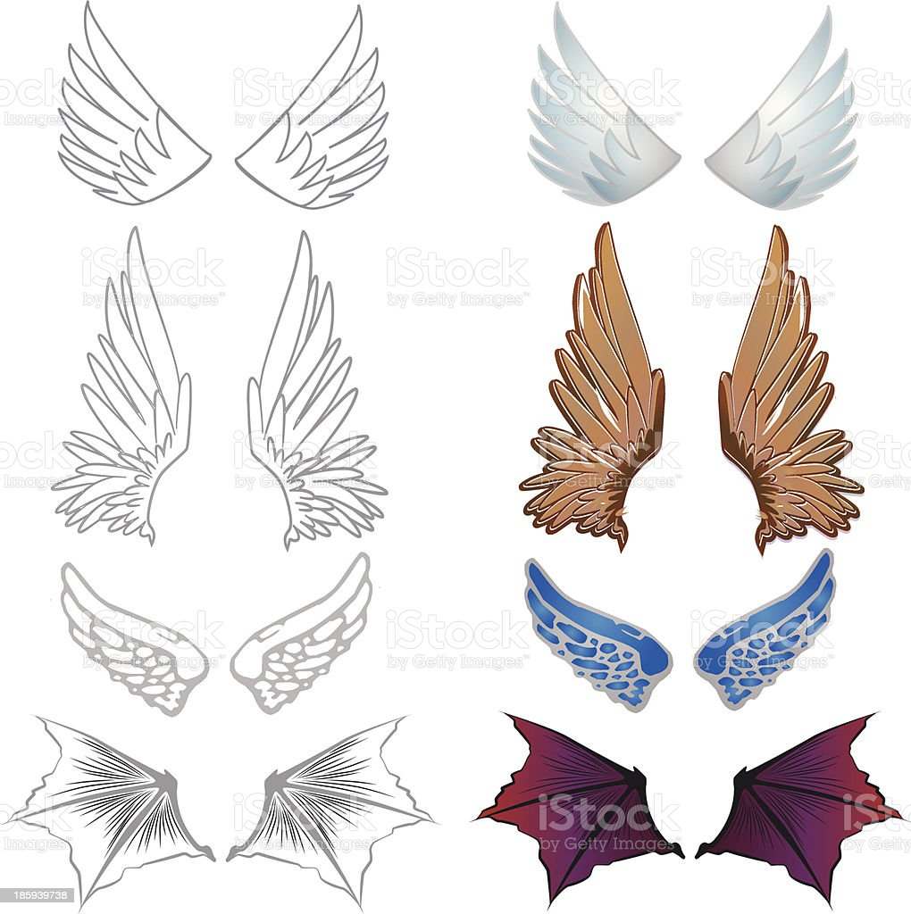 Set of wings royalty-free stock vector art