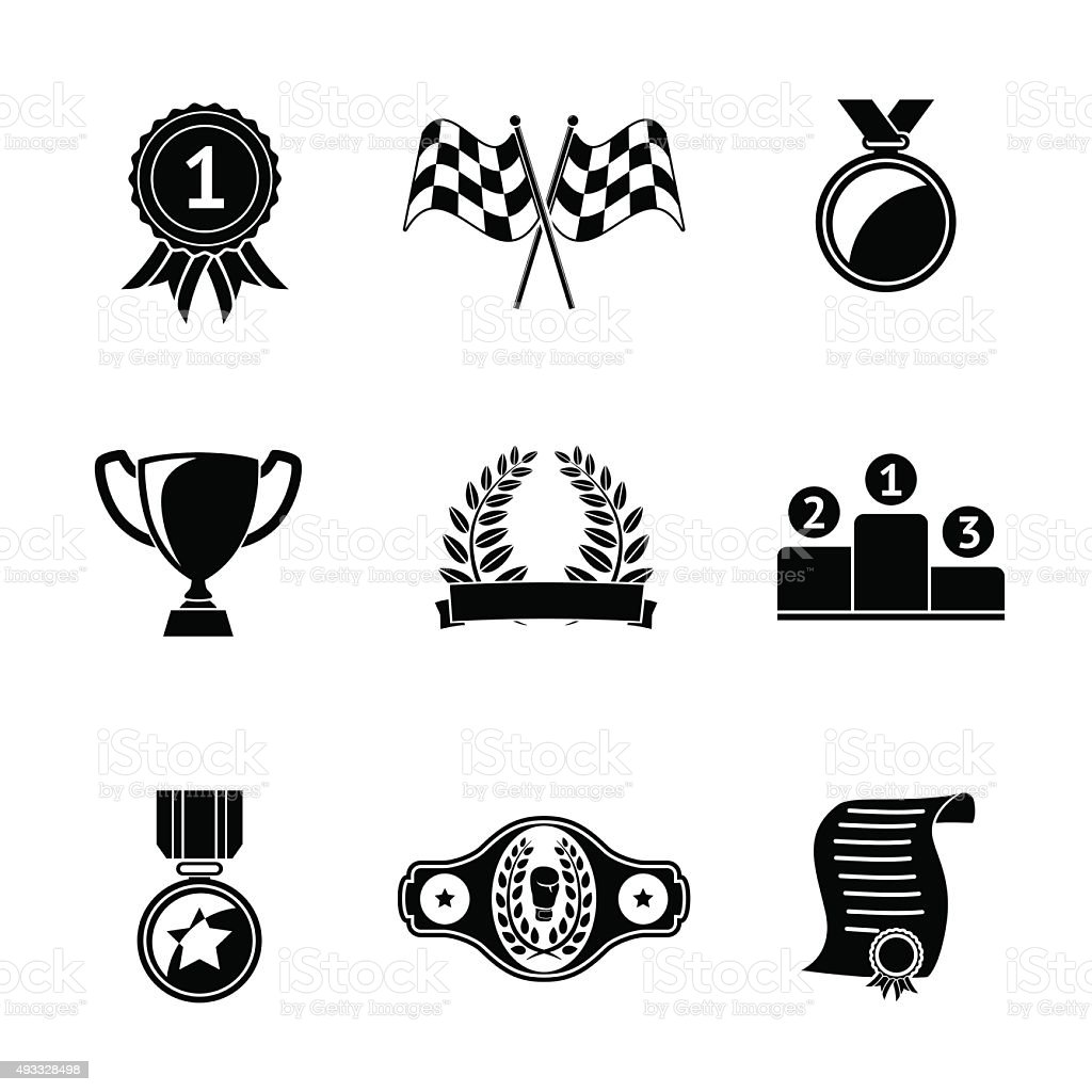 Set of winners icons - goblet, medal, wreath, race flags vector art illustration