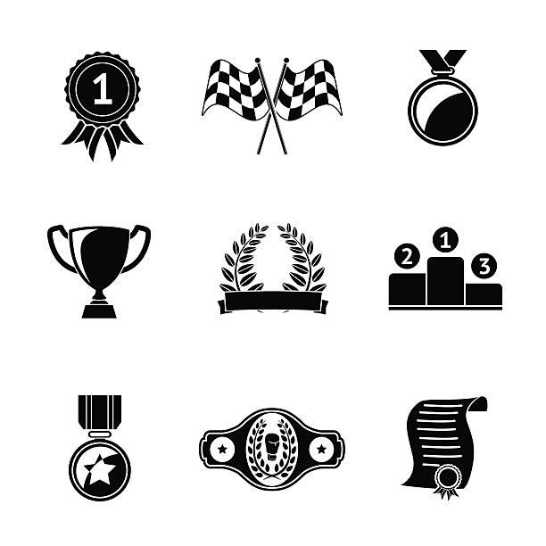 Set of winners icons - goblet, medal, wreath, race flags vector art illustration