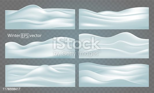 Set of six winter abstract backgrounds of various configurations of snow-covered relief hills with shadows.