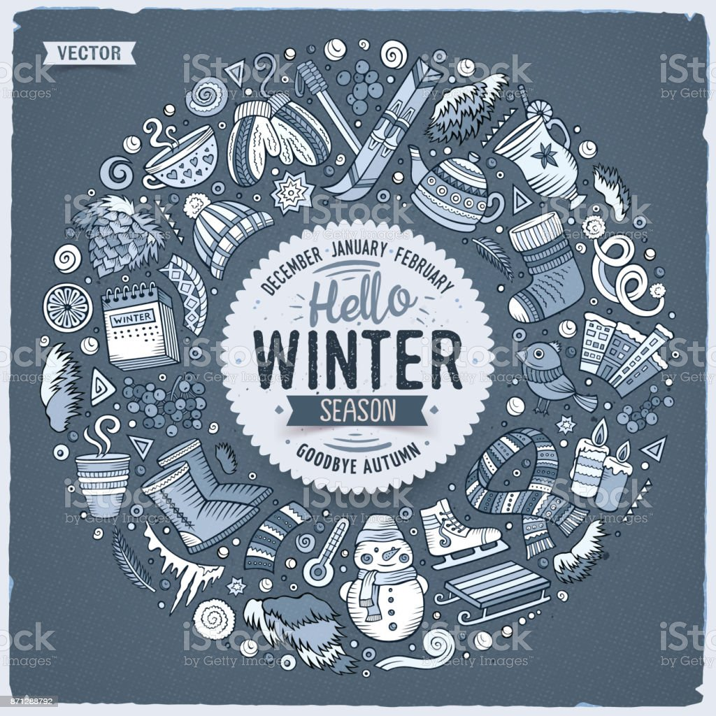 Set Of Winter Cartoon Doodle Objects Symbols And Items Stock Vector