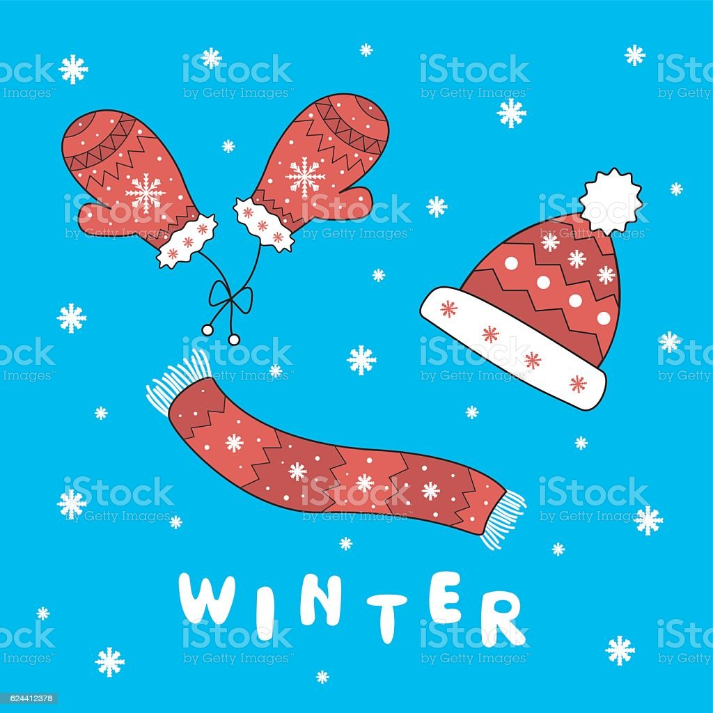 set of winter clothes. Background for your design. vector art illustration