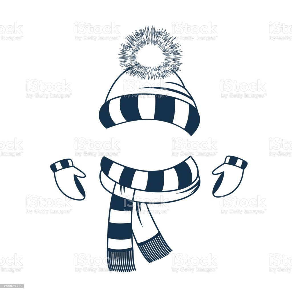 0b703572 Set of winter clothes. Ski hat with pompon, mittens and scarf. -  Illustration .