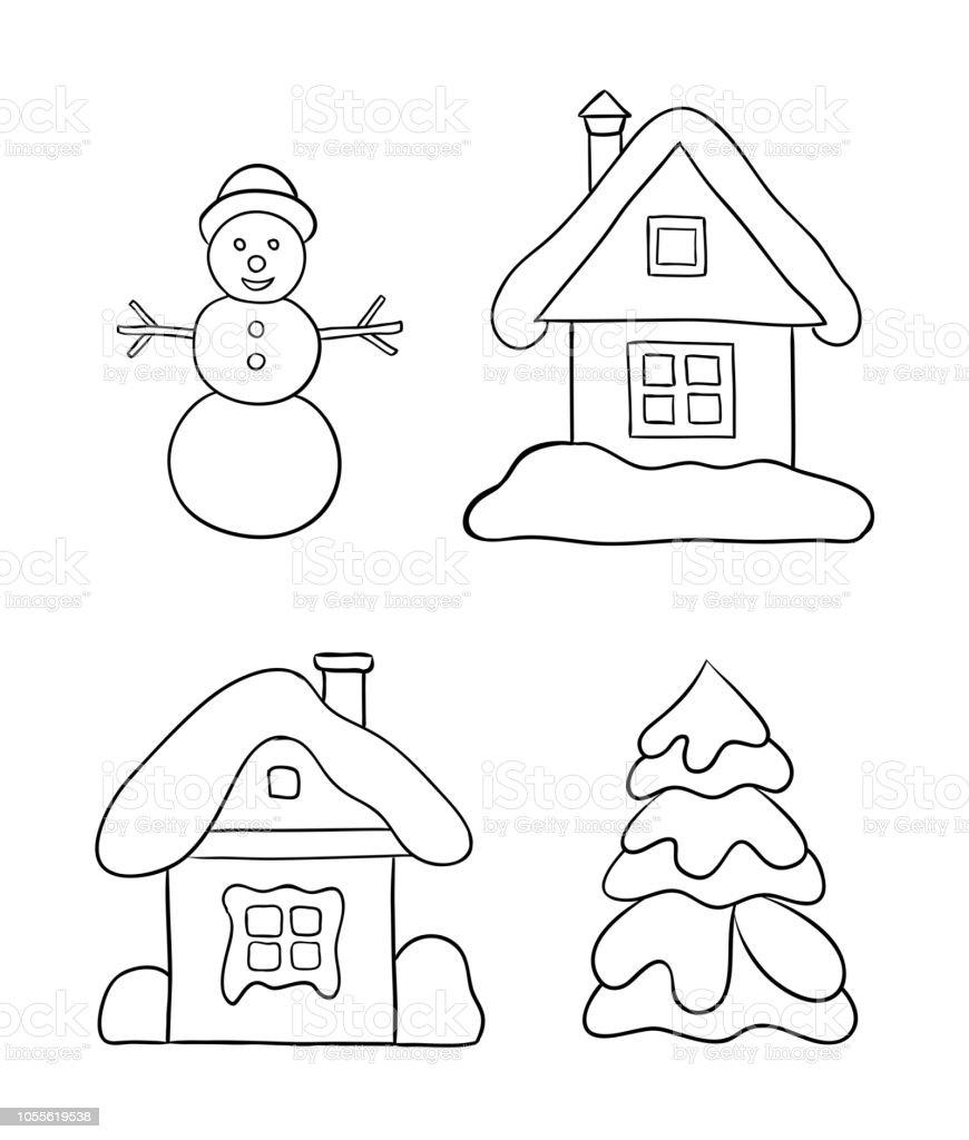 Ilustración De Conjunto De Dibujos De Invierno Para Colorear Y Más