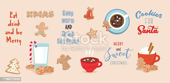 set of winter drinks, phrases and gingerbread cookies. Winter set for Christmas or New Year designs. Christmas set