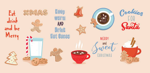 ilustrações de stock, clip art, desenhos animados e ícones de set of winter drinks, phrases and gingerbread cookies. winter set for christmas or new year designs. - christmas cookies