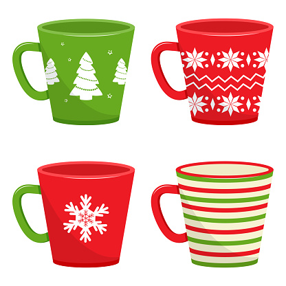 Set of winter holiday cups with different pattern. Vector illustration