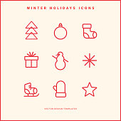 Set of winter holidays icons. Line pictograms. Merry Christmas and Happy New Year decoration. Vector illustration.