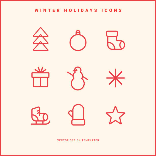 Set of winter holidays icons Set of winter holidays icons. Line pictograms. Merry Christmas and Happy New Year decoration. Vector illustration. christmas icons stock illustrations