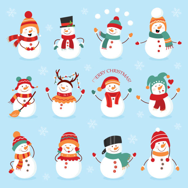 Set of winter holidays snowman. Cheerful snowmen in different costumes. Snowman chef, magician, snowman with candy and gifts Set of winter holidays snowman. Cheerful snowmen in different costumes. Snowman chef, magician, snowman with candy and gifts. snowman stock illustrations