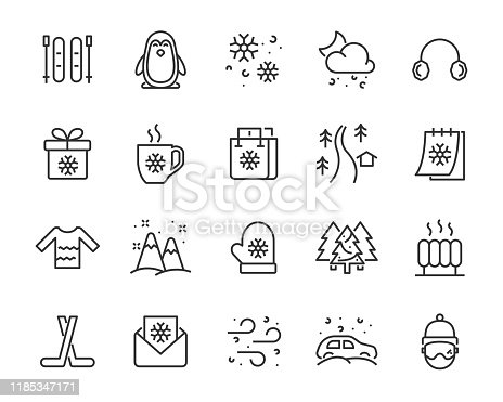 set of winter icons, christmas, snowflake, season, winter sport, cold,