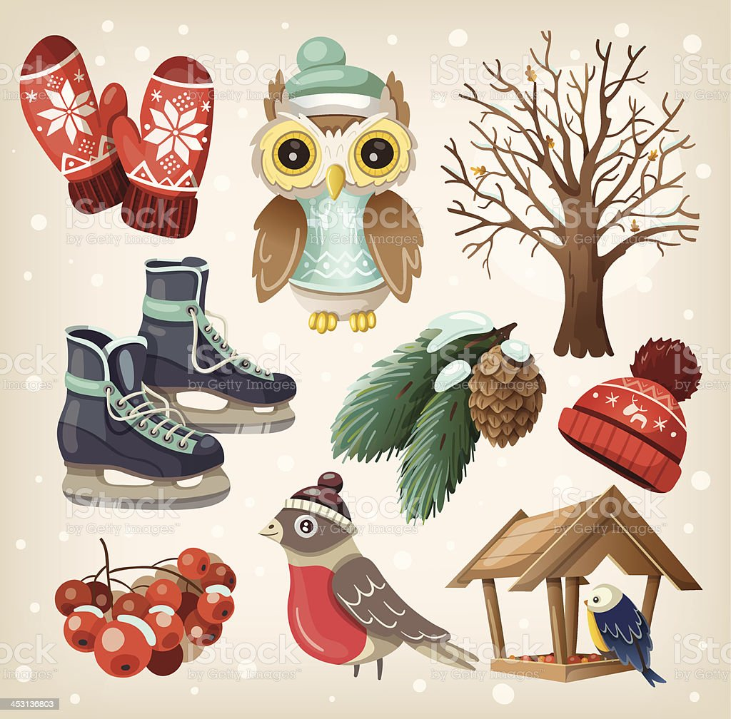 Set of winter items and elements vector art illustration