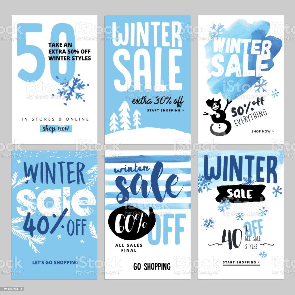 Set of winter mobile sale banners – Vektorgrafik