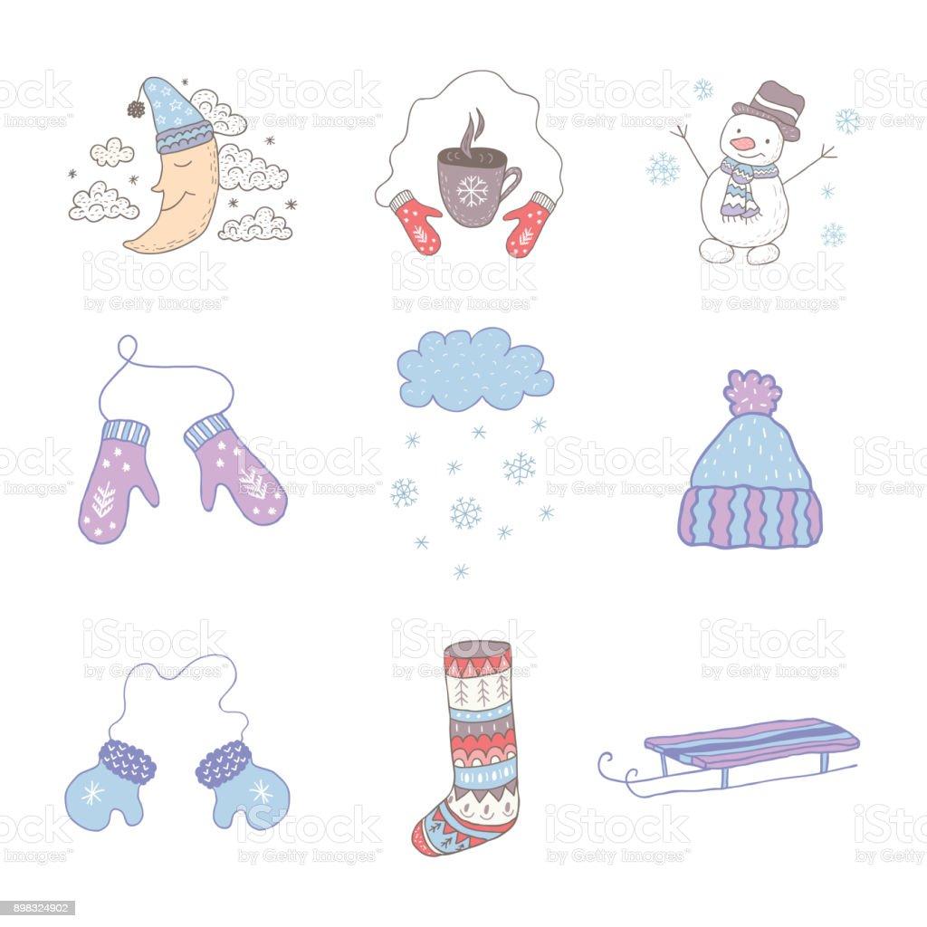 Ilustra o de conjunto de objetos de inverno arte do for Objetos decorativos minimalistas