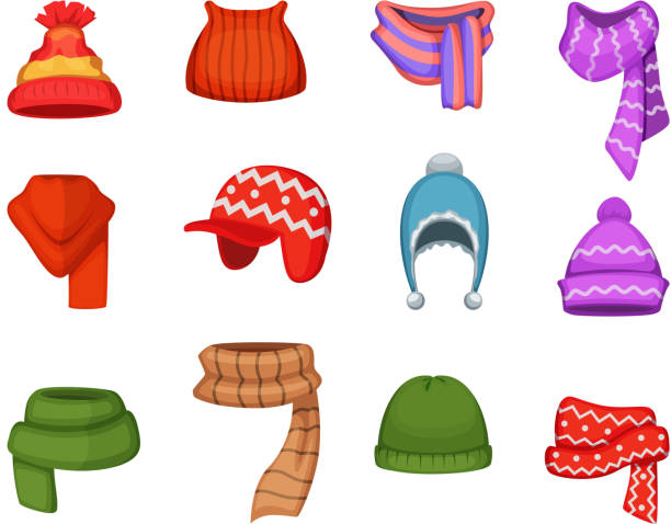 c3f96228 Set of winter scarfs and caps with different colors and styles vector art  illustration