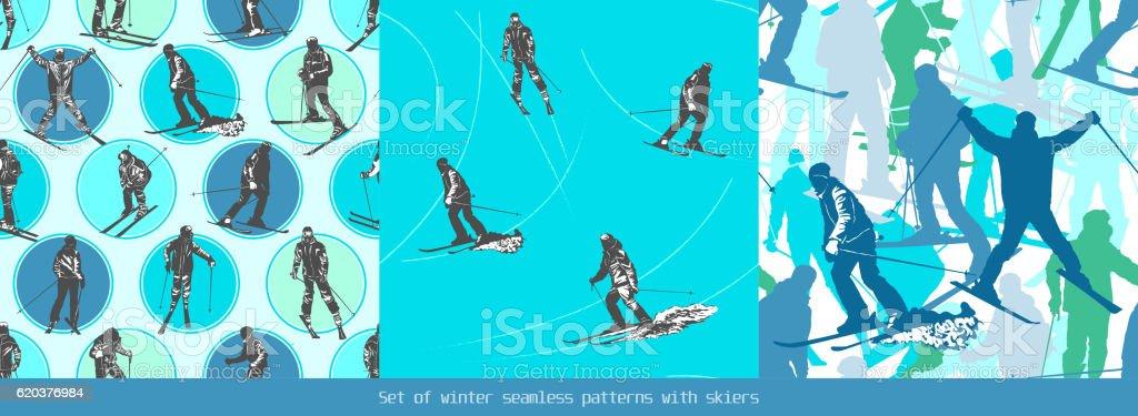Set of winter seamless patterns with skiers set of winter seamless patterns with skiers - stockowe grafiki wektorowe i więcej obrazów badanie royalty-free