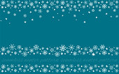decorative set of winter hand drawn snowflakes seamless patterns, borders, on blue background with snow, stars, ornament for card, invitation