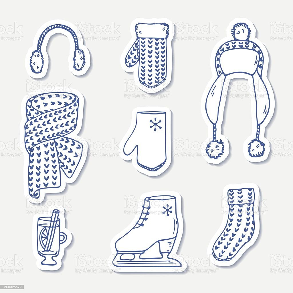 Set of winter stickers. Hand drawn outline knitted accessories. Cute vector art illustration