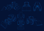Set of wireframes with bulldozers of blue lines on a dark background. Bulldozers from different angles. 3D. Vector illustration.