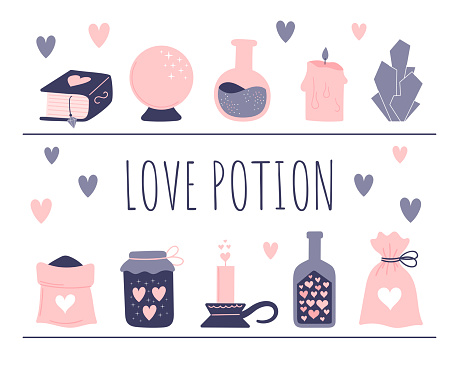 A set of witchcraft elements. Attributes for a love spell. Potion bottles, magic powder, skull in love. Vector illustration isolated on white background.