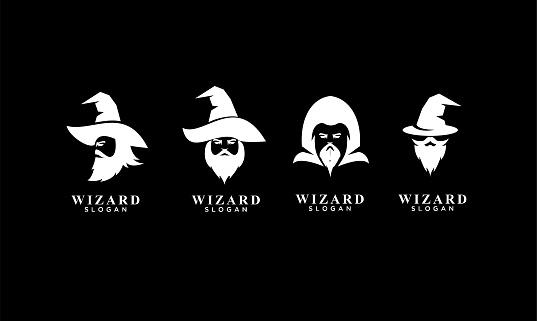 set of wizard badge logo icon design vector illustration