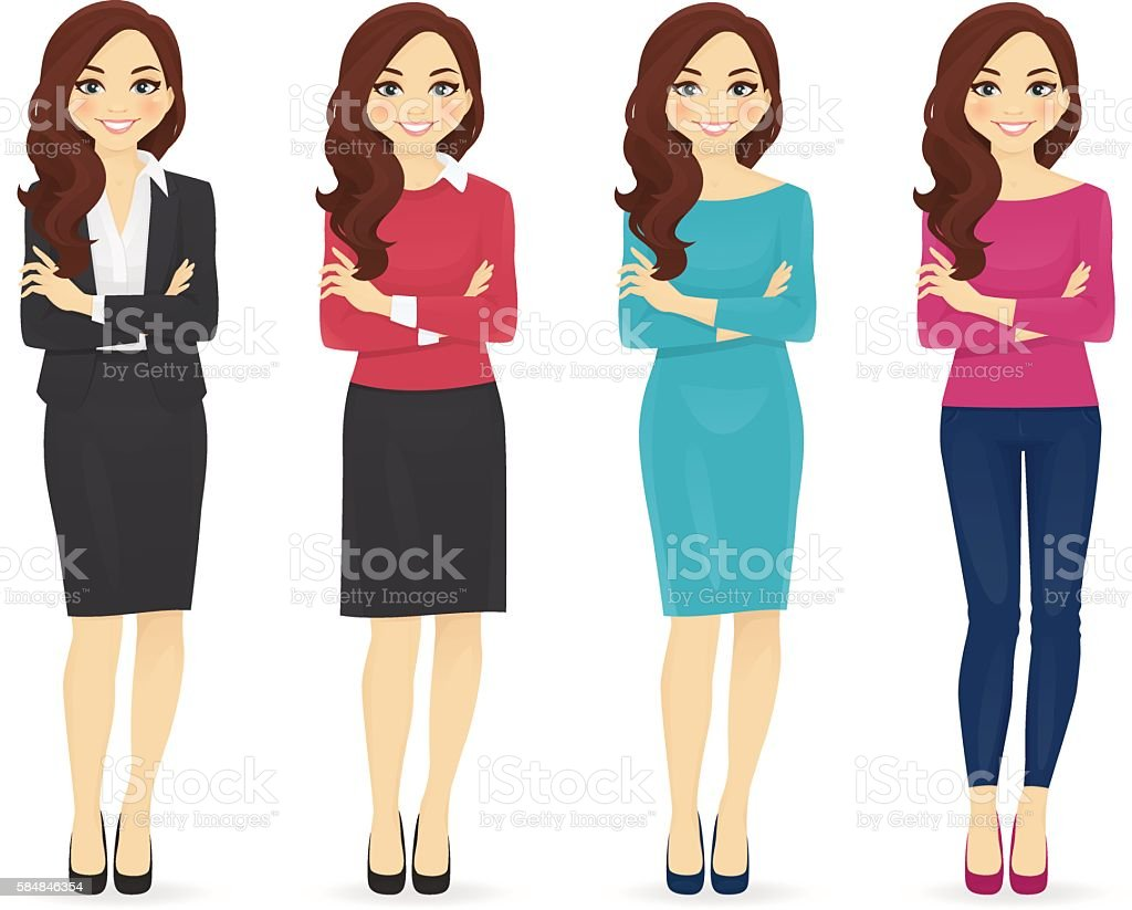 Set of wman in different clothes vector art illustration