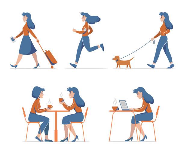 satz von frau aktivitäten. vektor-illustration. - arbeitshunde stock-grafiken, -clipart, -cartoons und -symbole