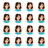 Set of woman emotions icons