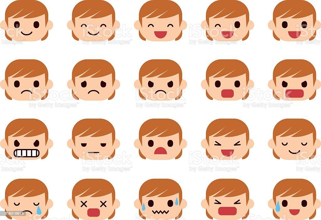 Set of woman emotions - ilustración de arte vectorial