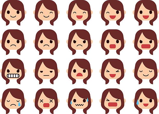ilustraciones, imágenes clip art, dibujos animados e iconos de stock de set of woman emotions - lágrimas de emoji alegre
