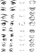Set of woman eyes, lips, eyebrows and noses as black