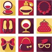Set of woman fashion symbols