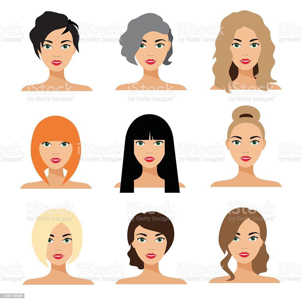 Set of woman hair styling vector flat Illustration vector art illustration