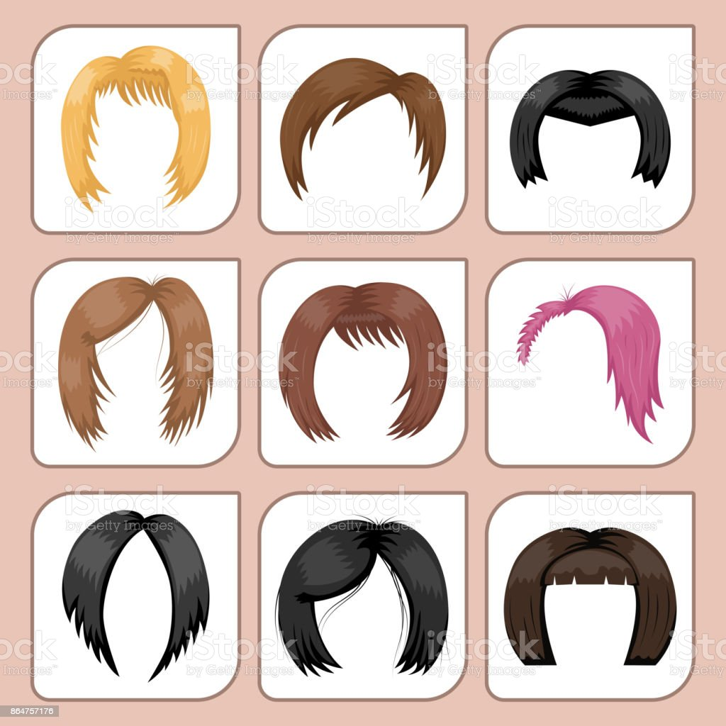 Set of woman hair styling vector illustration young brown silhouette health color haircut vector art illustration