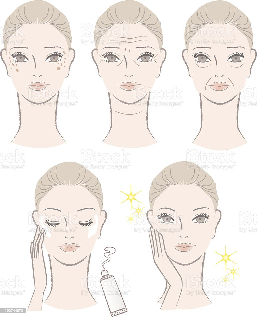 Set of woman with aging troubles and after treatment royalty-free stock vector art