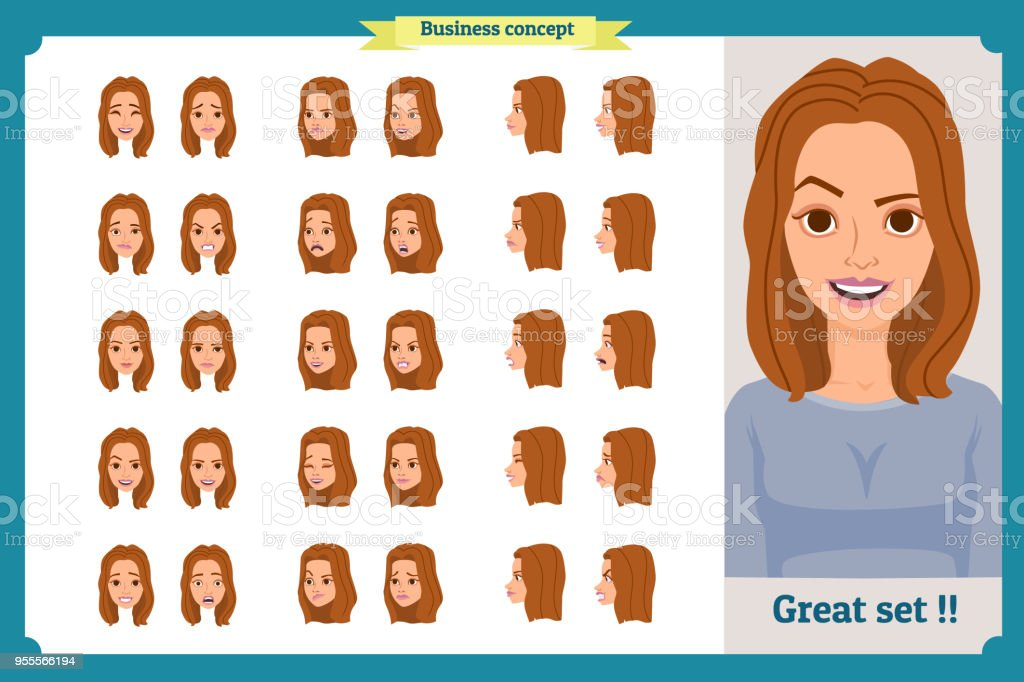 Set Of Womans Emotions Design Facial Expression Girl Avatarfront