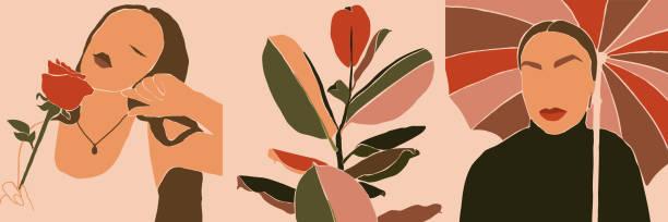 illustrazioni stock, clip art, cartoni animati e icone di tendenza di set of woman's face minimalist art. abstract contemporary collage fashion woman and plants in a trendy style. vector - donna si nasconde