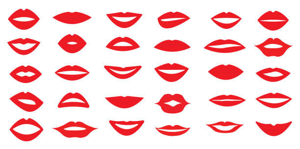 illustrazioni stock, clip art, cartoni animati e icone di tendenza di set of woman's lips. different form of the lips. different emotions. vector illustration. - bocca umana