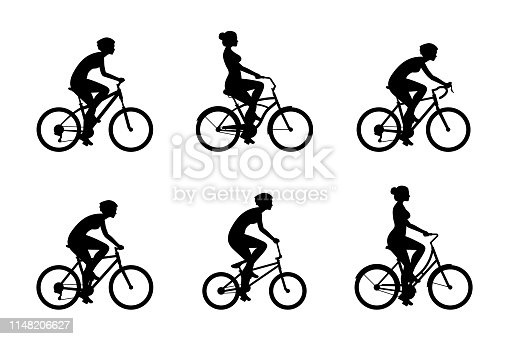 Set of Womans riding bicycles. isolated on white background