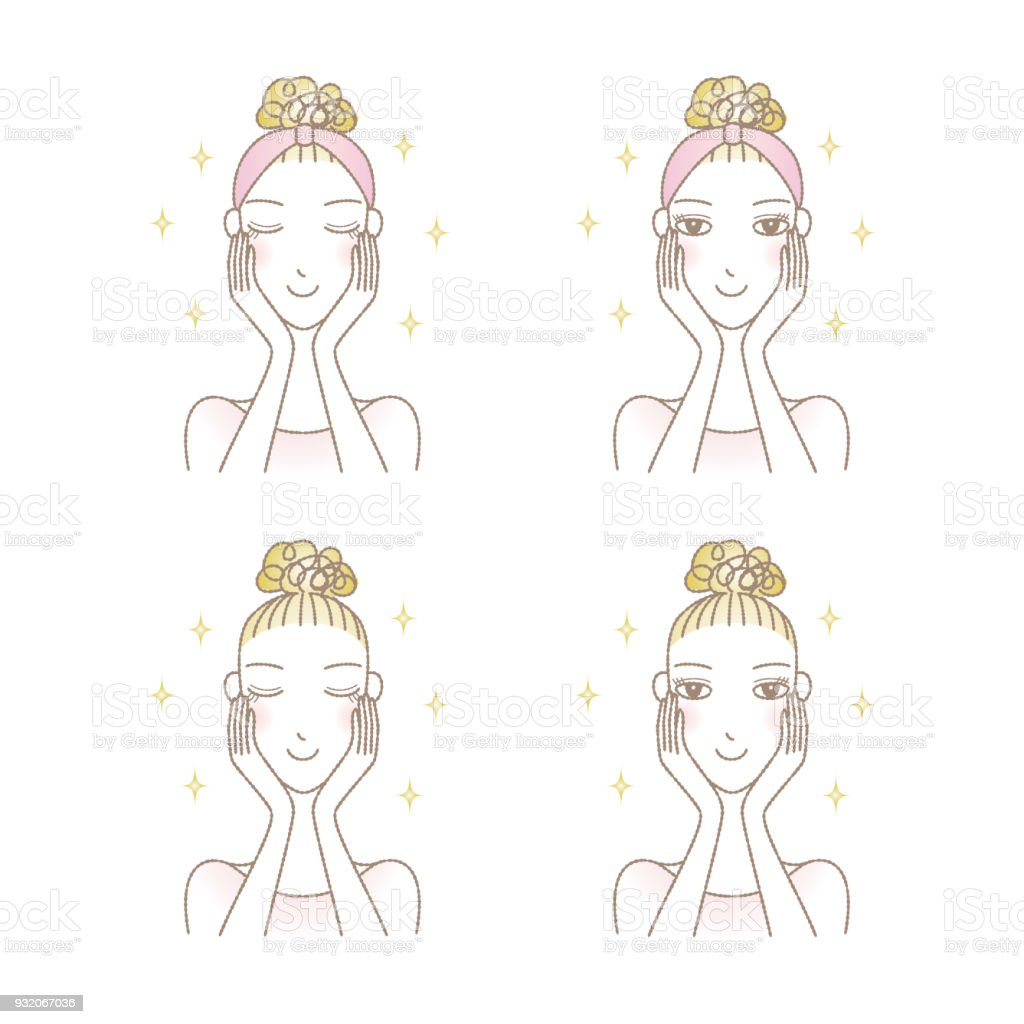 Set of woman's skin care image, beauty vector art illustration