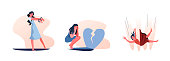 Set of women chained in relationship. Flat vector illustrations of women with handcuffs, crying near broken heart. Relationship concept for banner, website design or landing web page