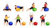 Set of women doing fitness exercise isolated on white background.
