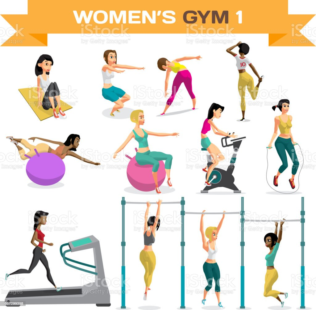 Set of women engaged in exercise in the gym. Part 1. vector art illustration