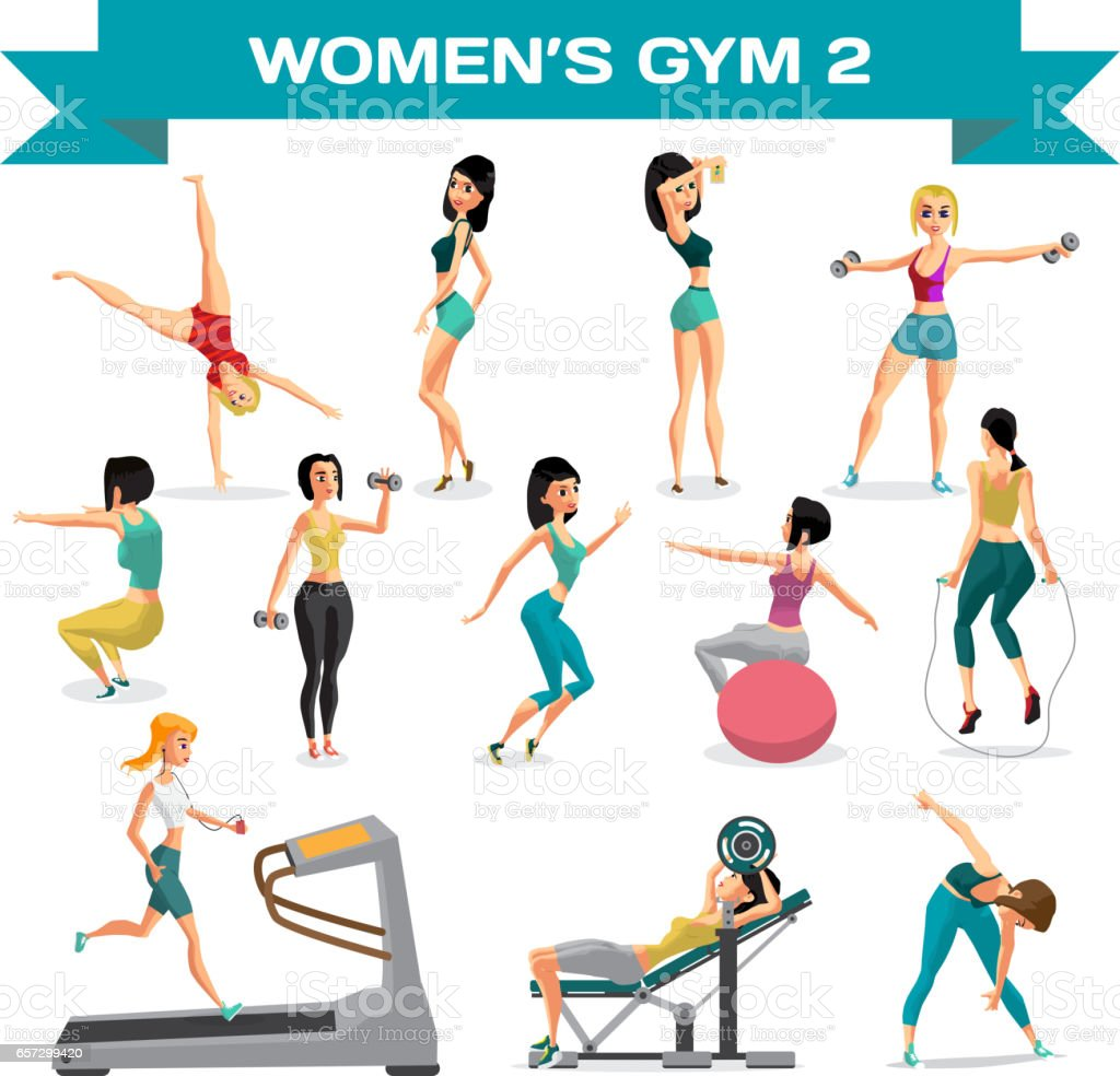 Set of women engaged in exercise in the gym. Part 2 vector art illustration