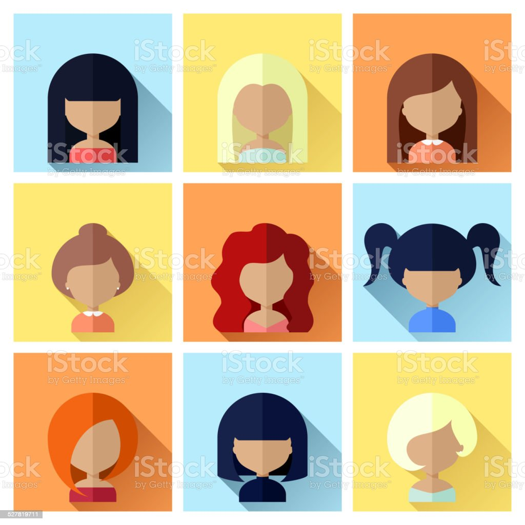 Set of Women Faces Icons in Flat Design vector art illustration